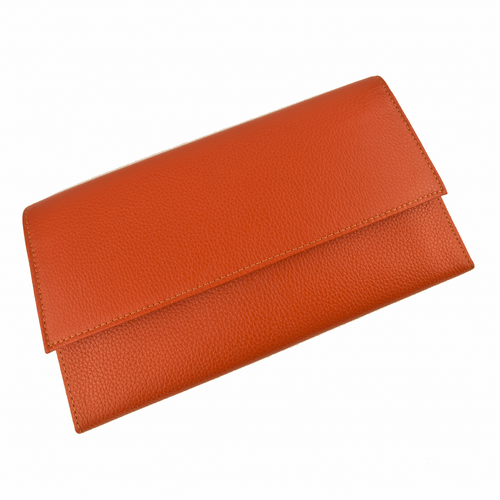 Leather Travel Wallet - Orange